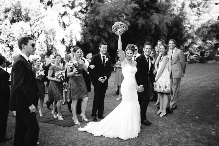 Hooray! We're married! Jasmine in Peter De Petra couture.