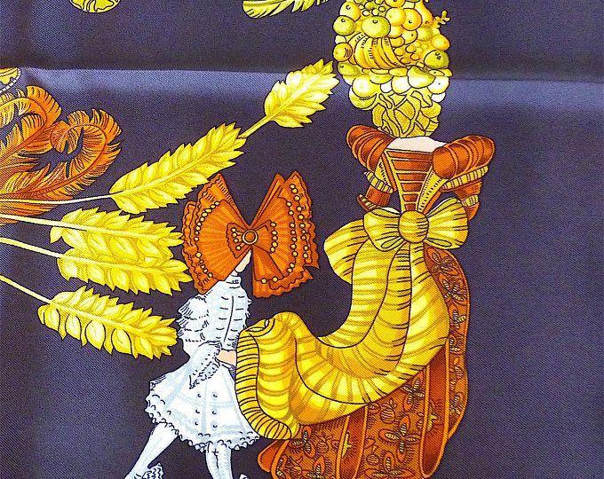 Vintage sciarpa di HERMES, NOS, anni 90, intitolato Chapeau! da Annie Faivre, marrone, bianco, oro, francese di alta moda, Idea regalo, spedizione gratuita