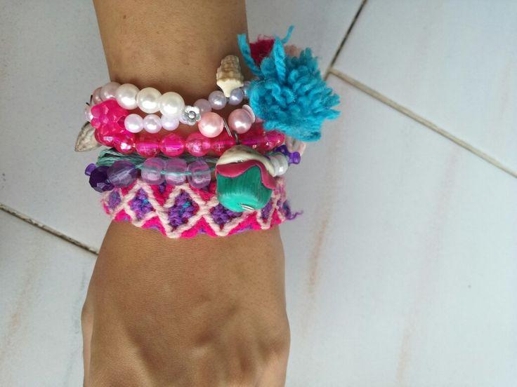 Fimo, pon pon,  macrame, summer bracelets,  goutsouniarika kosmimata