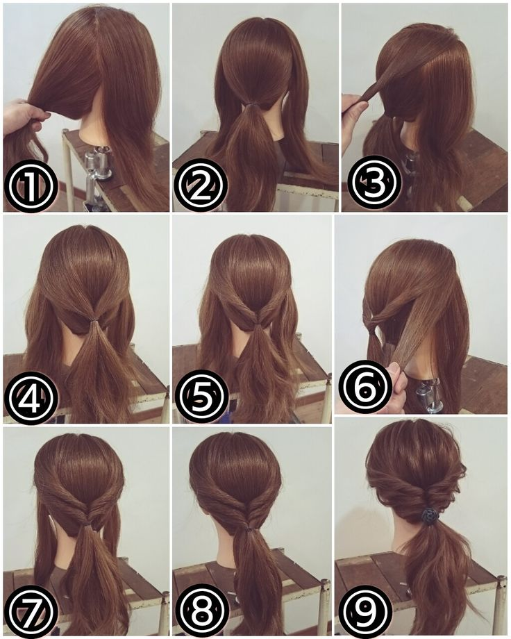 Low ponytail with twist above.