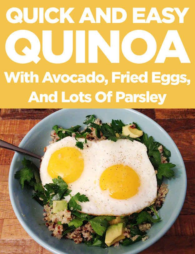 Easy Quinoa with Avocado, Fried Eggs, and Lots of Parsley Eggs Avocado ...