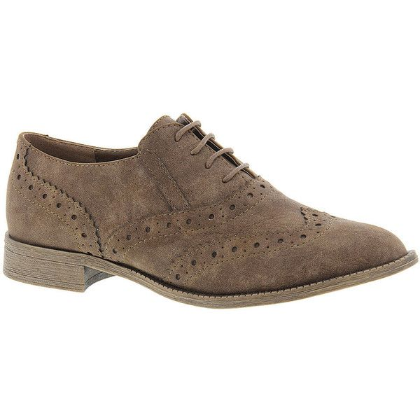Very Volatile JAXIE Women's Brown Oxford ($30) ❤ liked on Polyvore featuring shoes, oxfords, brown, brown oxfords, wing tip oxfords, brown lace up shoes, nubuck oxfords and brown wing tip shoes