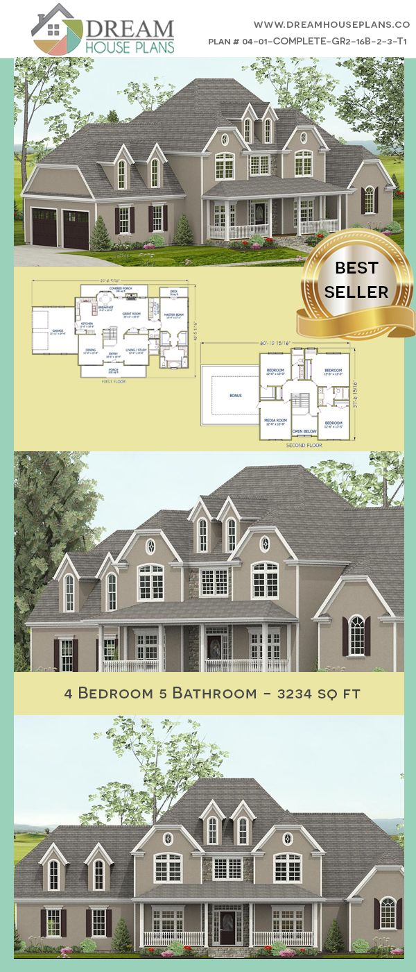 Dream House Plans Best Southern Living Family 4 Bedroom 3234 Sq Ft House Plan With Basement Open Basement House Plans Porch House Plans Diy House Plans