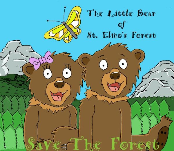 This is the cover page from the children's book, The Little Bear of St. Elmo's Forest.   Help bring Ettie to print with a pledge on Kickstarter on June 11th.