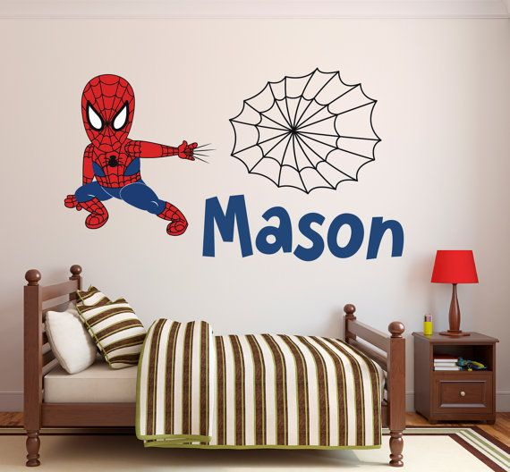 spiderman wall decal personalized name wall decal spider boy wall art superhero wall decal kids decor spiderman vinyl wall decal - Wall Sticker Design Ideas