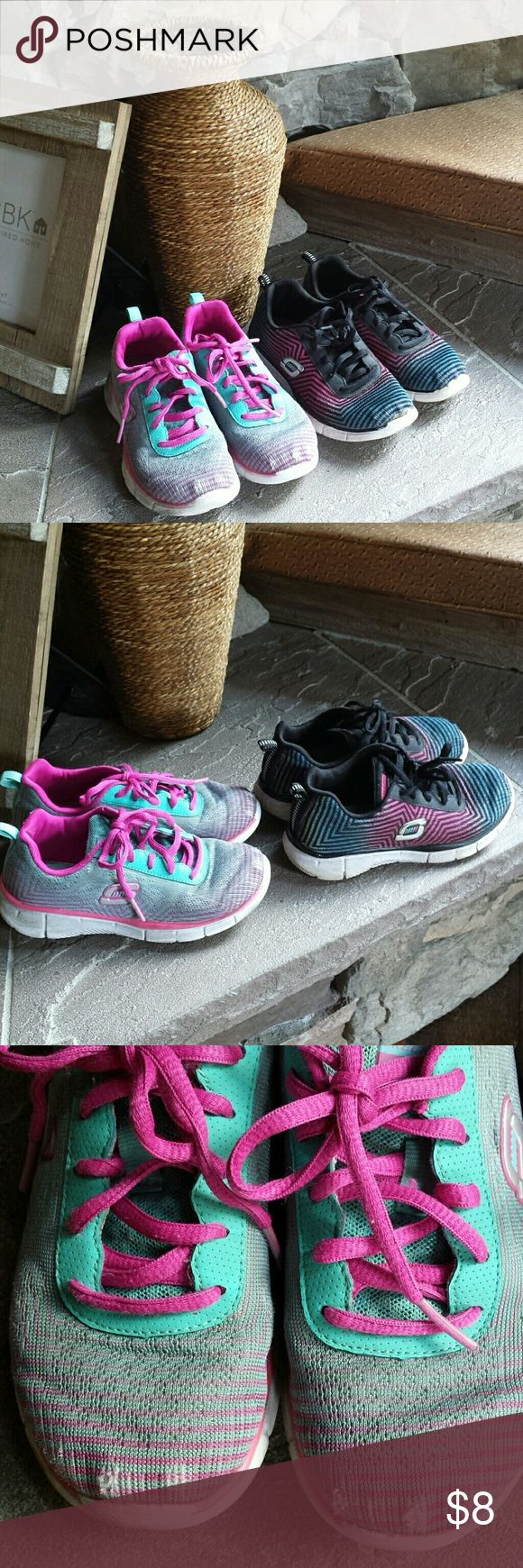 🔴2 Pair girls skechers size 12 Accepting low ball offers on red dot items. These shoes are definitely pre loved so selling as a pair. My daughter got good use out of these before she outgrew them but they would make good play shoes for another little girl. Paid $50 each. OK condition overall just some cosmetic flaws. Willing to put into a bundle as a free item upon request. Skechers Shoes Sneakers