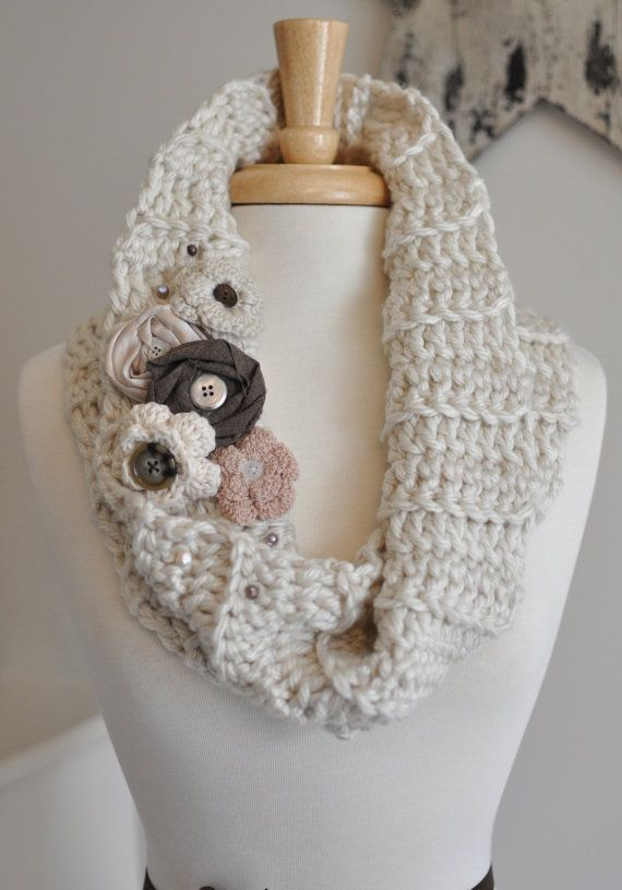 Shabby Chic Scarf, Princess Cowl, Crochet, Elegant, Handmade Piece, Beautiful, Flowers, Brooch, Floral, Beads, Adjustable