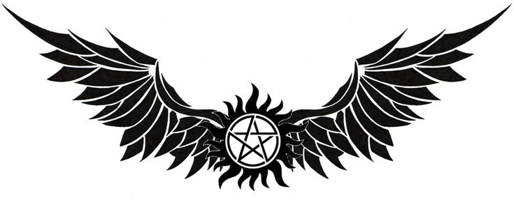 Supernatural anti-possession tattoo with wings