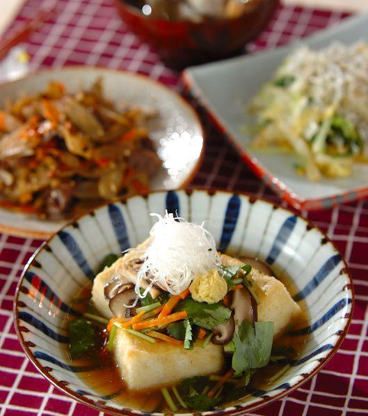 「あんかけ揚げ出し豆腐」の献立・レシピ - 【E・レシピ】料理のプロが作る簡単レシピ/2012.11.21公開の献立です。