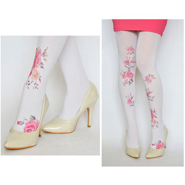 Tights With Vintage Pink Flowers , Hand printed tights , Fashion... (€20) ❤ liked on Polyvore featuring intimates, hosiery, tights, print tights, patterned pantyhose, pink stockings, opaque tights and microfiber tights