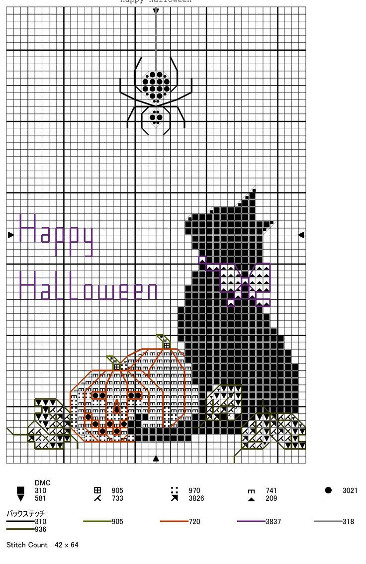 Free cross stitch pattern cat pumpkin and spider happy halloween
