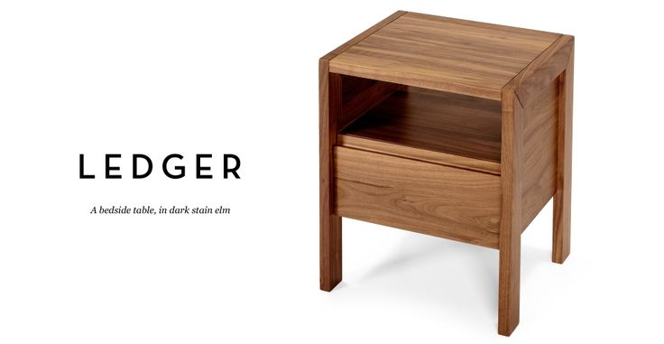 Ledger Bedside Table in dark stain elm | made.com