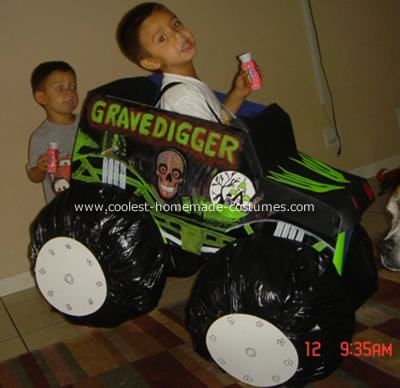 GraveDigger Monster Truck Costume: In 2007, my nephew wanted to be Gravedigger more than anything for Halloween so I offered to try and make a gravedigger monster truck costume for him.
