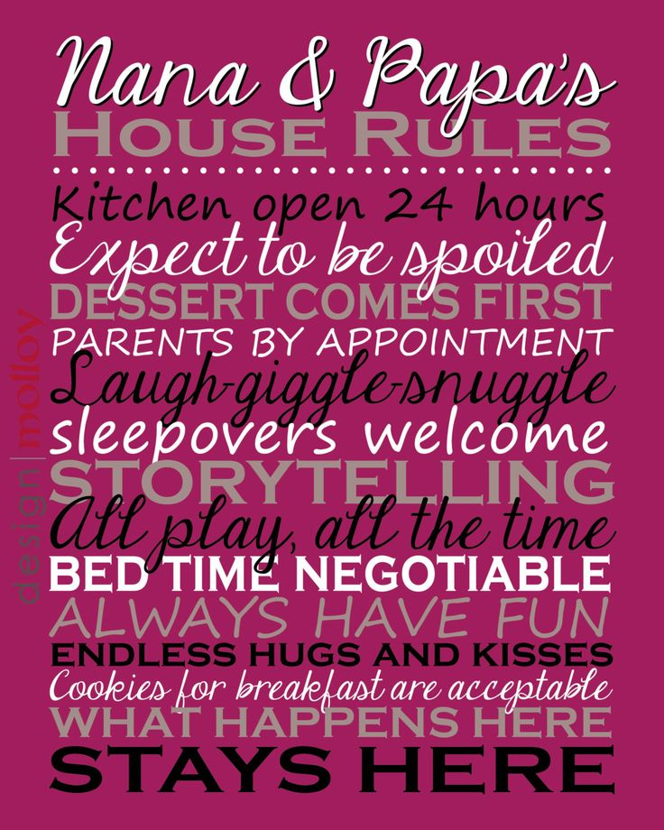 Grandparents' House Rules Sign Personalized Gift by DesignMolloy