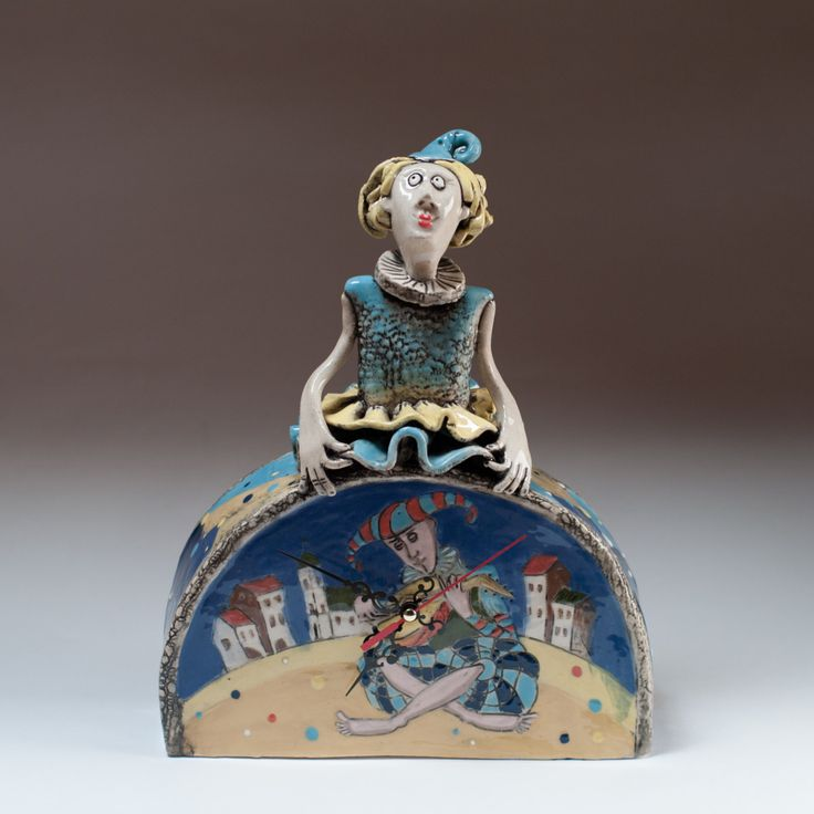 "Ceramic table clock ""Columbine"" by KuklaArt on Etsy"