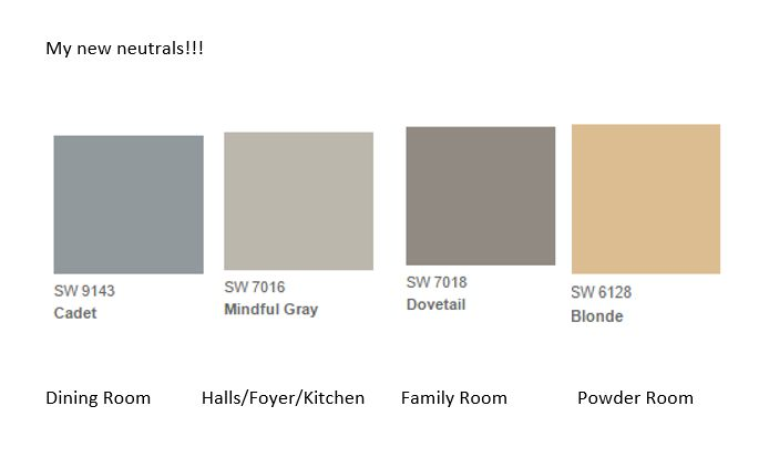 My new neutrals: Sherwin Williams - Cadet, Mindful Gray, Dovetail and Blonde