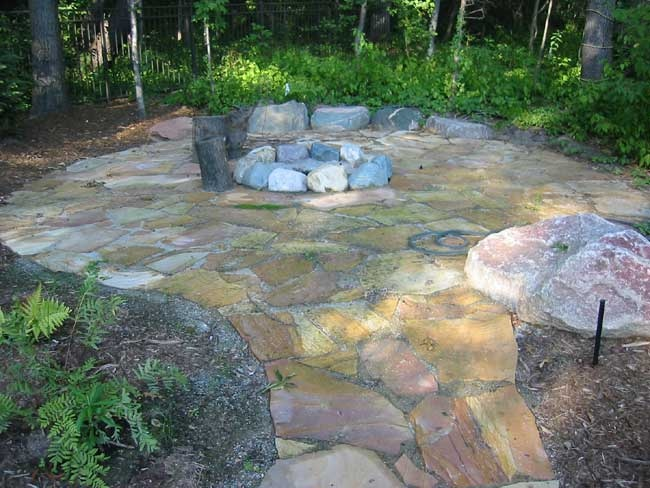 how to build a river rock fire pit