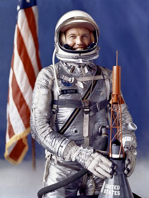 NASA selected Astronaut L. Gordon Cooper in 1959 as one of the 7 astronauts for their Mercury Project. In 1 1/2 days, the Faith 7 spacecraft orbited the Earth 22 times. (photo: NASA Marshall Space Flight Center Collection)