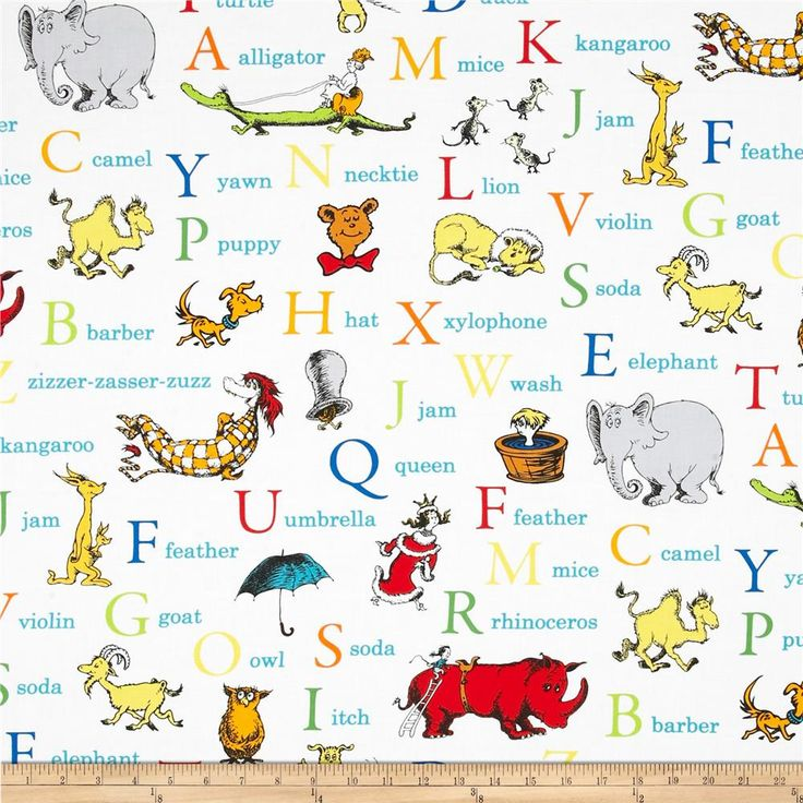 Dr. Seuss ABC Alphabet Words Adventure from @fabricdotcom  From Dr. Seuss Enterprises and Robert Kaufman, this cotton print is perfect for quilting, apparel and home décor accents. Colors include red, orange,  yellow, green, blue, grey, black, and white. This is a licensed fabric and not for commercial use.