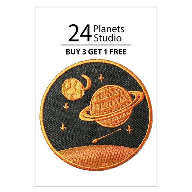 Saturn#2 Iron on Patch by 24 Planets Studio #24PlanetsStudio  #hipster #nerd #Geek #indie #shirt #jacket #bag #hat #cap #jeans #shopping #irononpatch #patch #etsy #etsyseller #girl #girls #cute #planet #nasa #space #saturn #ufo #differencemakesus