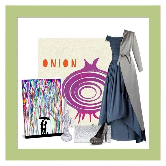 """""""onion"""" by charmina-linda on Polyvore featuring Adrianna Papell, iCanvas, Rembrandt Charms, Jimmy Choo and Balmain"""