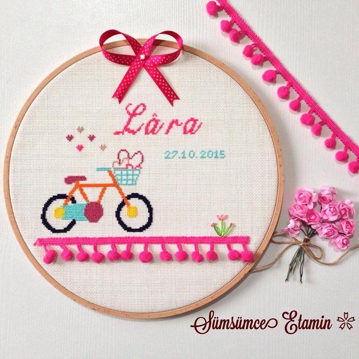 Sümsümce Etamin Mutluluk Panosu, Yenidoğan Panosu, Bebek Panosu, Kız Bebek Panosu, cross stitch, handmade