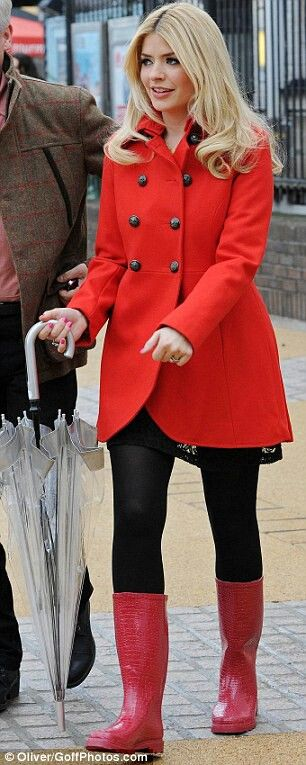 Image result for holly willoughby red raincoat