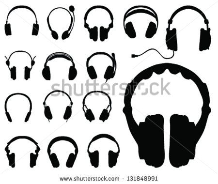 Black silhouettes of headphones-vector