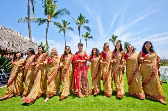 Gorgeous traditional Hindu gowns at Preeya and Pramod's Hawaiian Hindu Wedding Photo credit: IQphoto Studio