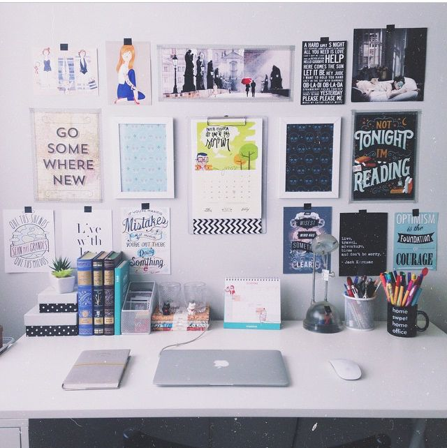 i like the focus on wall space instead of desk space. youre likely to have more of the former in a dorm!