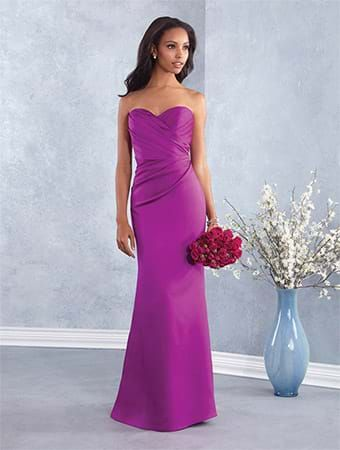 Alfred Angelo Style 7427: floor length satin bridesmaid dress with sweetheart neckline and fluted skirt