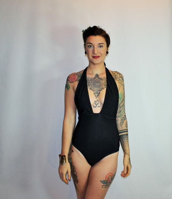 Custom Sexy Plunge Retro One-Piece Swimsuit  /Any Size /28 Colors and Prints /Made to Measure