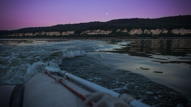 moonrise on the Danube, photography, picture color, blue  cyan,