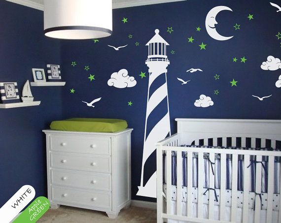 Nursery Lighthouse with stars clouds and moon scene by StudioQuee, $62.00