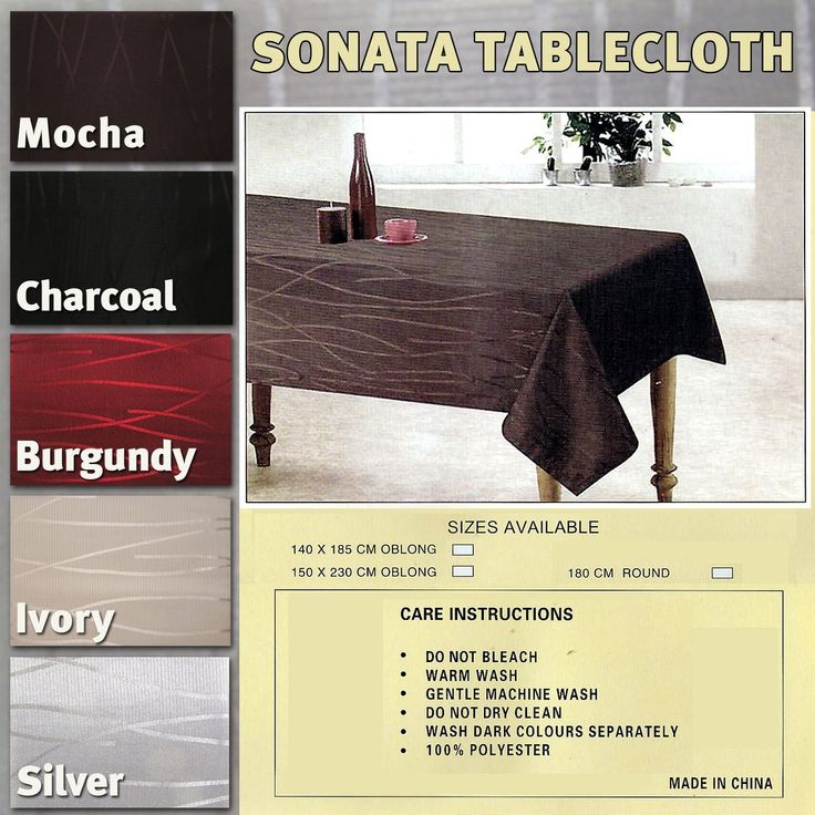Tablecloths Choose from a wide collection of sizes, shapes, colors, designs and patterns