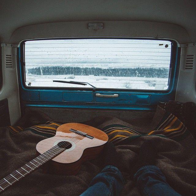 Winter, road trip, guitar, truck camping