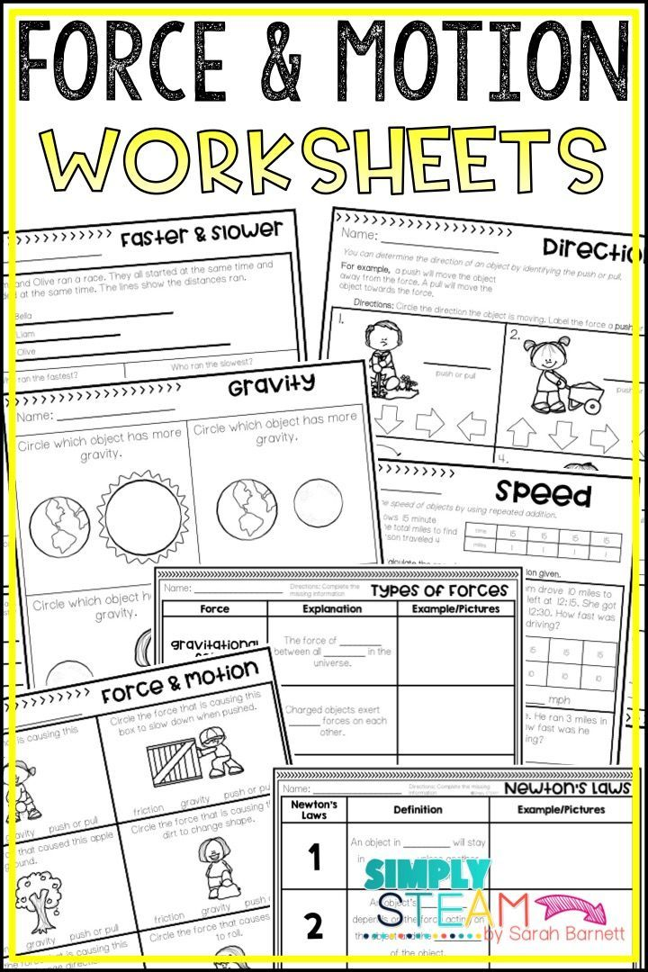 Force and Motion Worksheets | Force, motion, Elementary ...