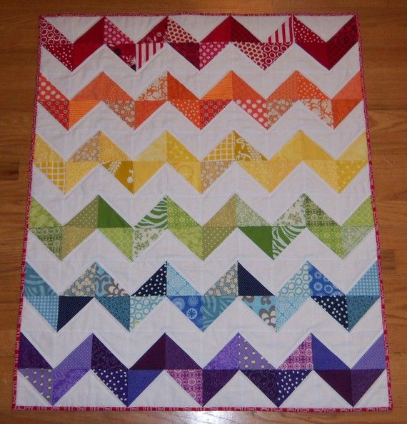 Reserved for Sarah- FREE SHIPPING- Rainbow Zig Zag Baby Quilt