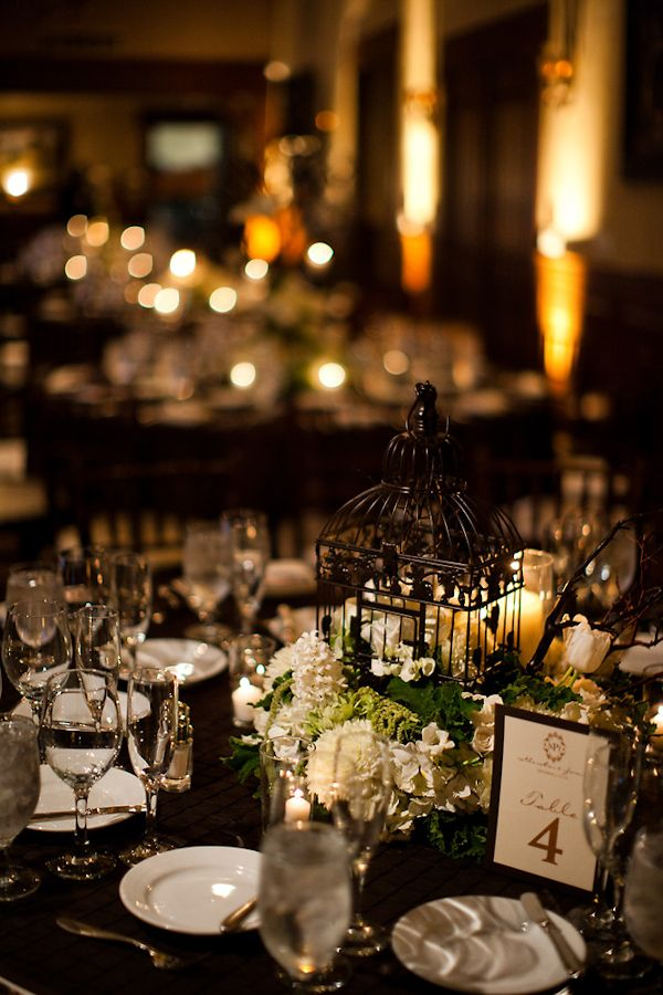 Reception Table Setting Details   Black Tablecloth, White Candles, Black  Birdcage With White And Part 50