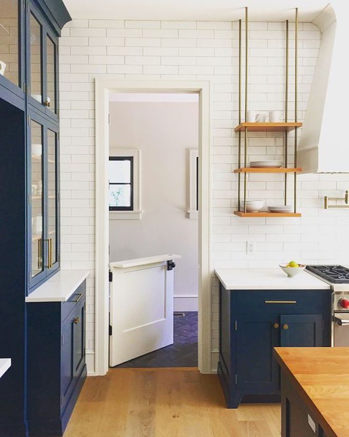 BECKI OWENS— Kitchen Design Inspiration: 3 Blue Beauties❤️. Modern Farmhouse, Farrow and Ball Hague Blue, steel frame windows, Dutch door, design by Oh Farmhouse