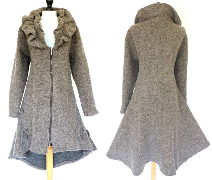 LAGENLOOK / QUIRKY COAT. The coat is possibly (butnot 100% sure) bySarah Santos. and a wonderful mohair / fuzzy / felted wool texture. UK 18. unlined coat styled with a double layer ruffled. collar, a fabulous hemline - shorter to the front. | eBay!