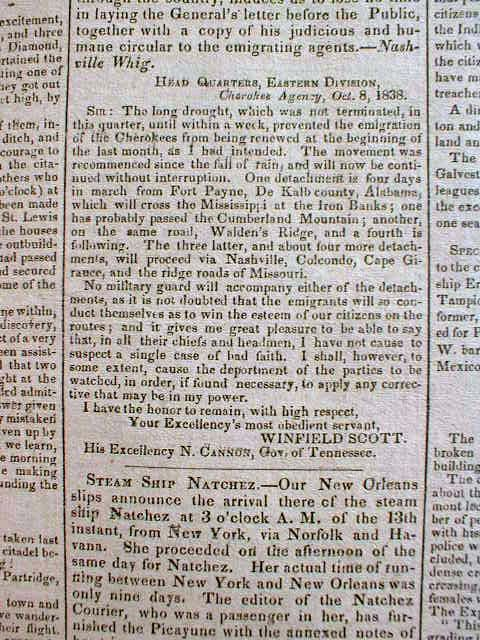 Cherokee Indians Trail Of Tears | 1838 Newspaper Trail of Tears Cherokee Indians Forced Relocation to ...