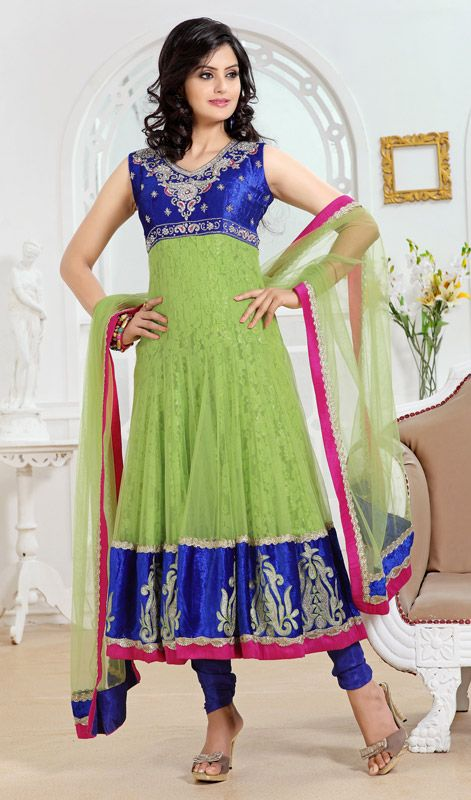 Blue/Green Net and Velvet Anarkali Suit Price: Usa Dollar $253, British UK Pound…
