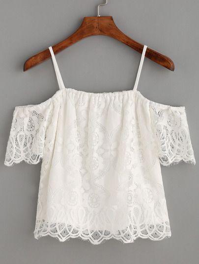 Top hombros descubiertos encaje - blanco-Spanish SheIn(Sheinside)