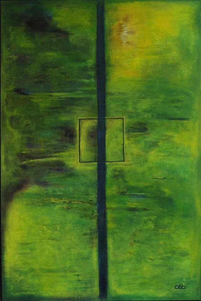 Maleri: Fokus  En tur ved åen har givet inspiration til farvevalg og udtryk. Man falder til ro og i vores hjem har det særstatus, da det er en af mine første malerier