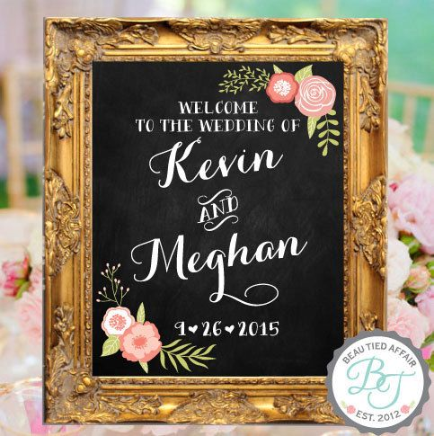 """Welcome to the Wedding of • Custom Wedding Chalkboard Sign with Names and Wedding Date • 16""""x20"""""""