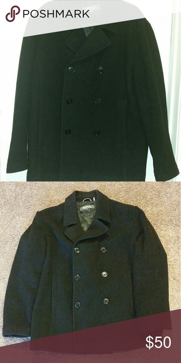 Kenneth Cole Reaction Men's Peacoat Black wool blend peacoat with polyester lining. Men's XL. Barely worn, in great shape! Kenneth Cole Reaction Jackets & Coats Pea Coats