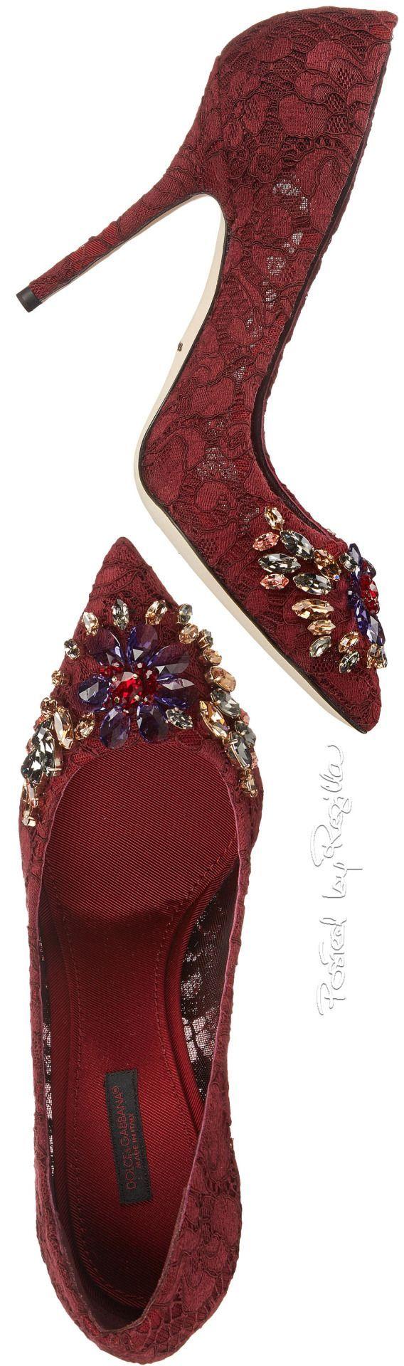 Dolce & Gabbana ~ Burgundy Embellished High Heel Pumps