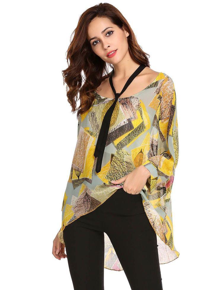 Yellow Women High Chiffon Sleeve T-Shirt