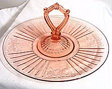 *Depression Glass - Anchor Hocking - Mayfair / Open Rose - Pink Sandwich Server…